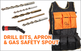 Drill bits,Tablier, Apron, Gas Safety Spout